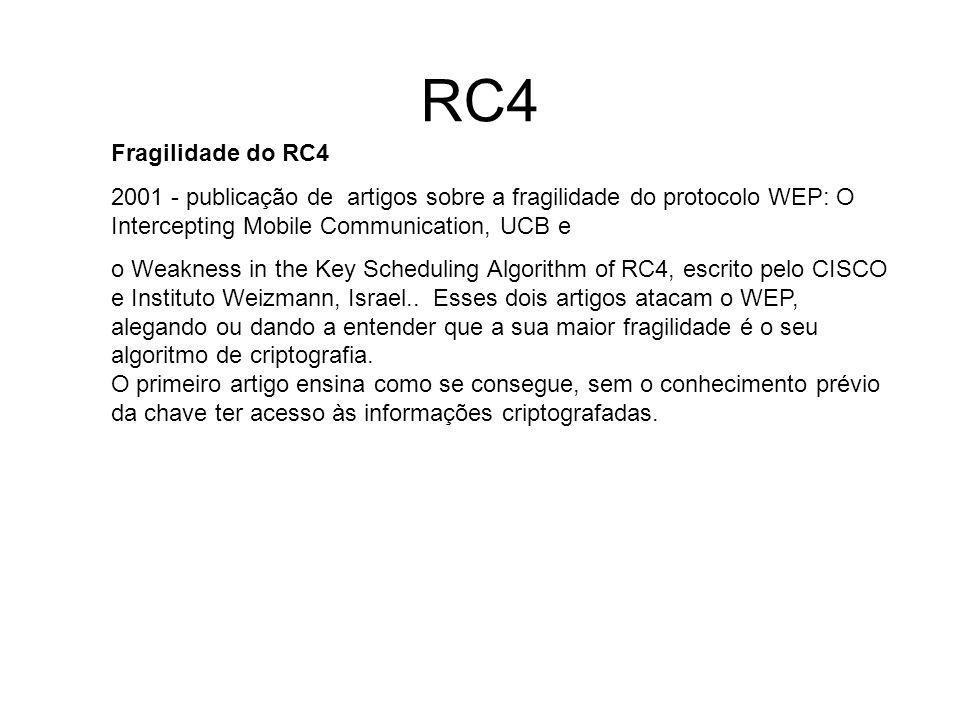 RC4 Fragilidade do RC4. 2001 - publicação de artigos sobre a fragilidade do protocolo WEP: O Intercepting Mobile Communication, UCB e.