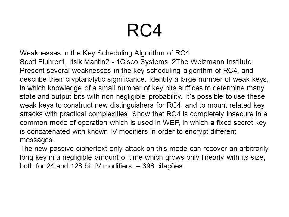 RC4 Weaknesses in the Key Scheduling Algorithm of RC4