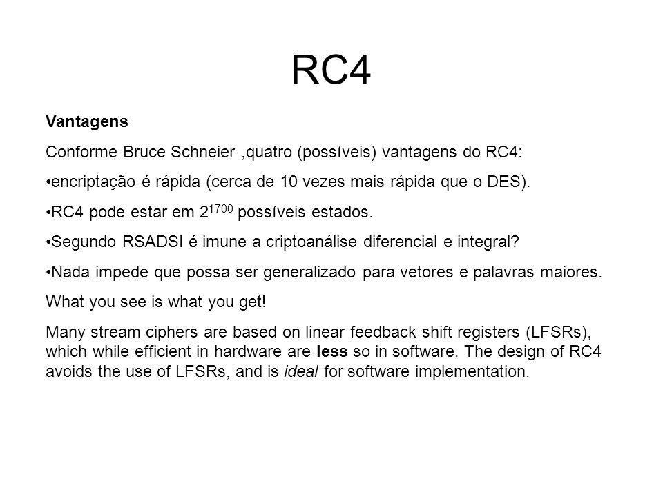 RC4 Vantagens. Conforme Bruce Schneier ,quatro (possíveis) vantagens do RC4: encriptação é rápida (cerca de 10 vezes mais rápida que o DES).