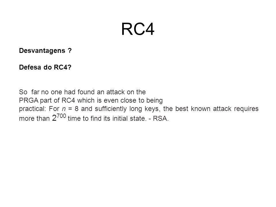 RC4 Desvantagens Defesa do RC4