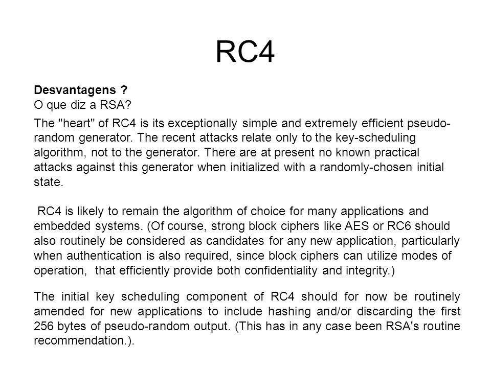 RC4 Desvantagens O que diz a RSA
