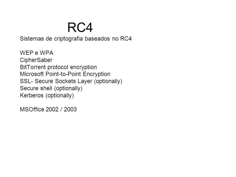 RC4 Sistemas de criptografia baseados no RC4 WEP e WPA CipherSaber BitTorrent protocol encryption Microsoft Point-to-Point Encryption SSL- Secure Sockets Layer (optionally) Secure shell (optionally) Kerberos (optionally) MSOffice 2002 / 2003