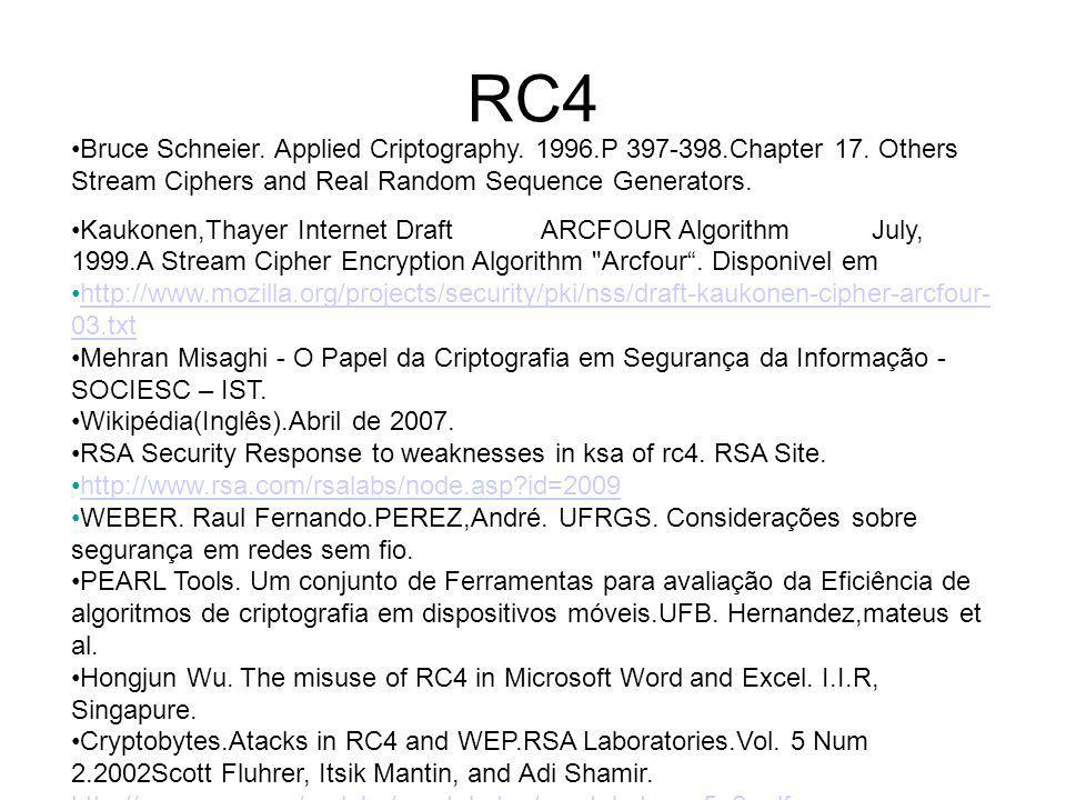 RC4 Bruce Schneier. Applied Criptography. 1996.P 397-398.Chapter 17. Others Stream Ciphers and Real Random Sequence Generators.