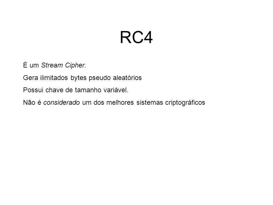 RC4 É um Stream Cipher. Gera ilimitados bytes pseudo aleatórios
