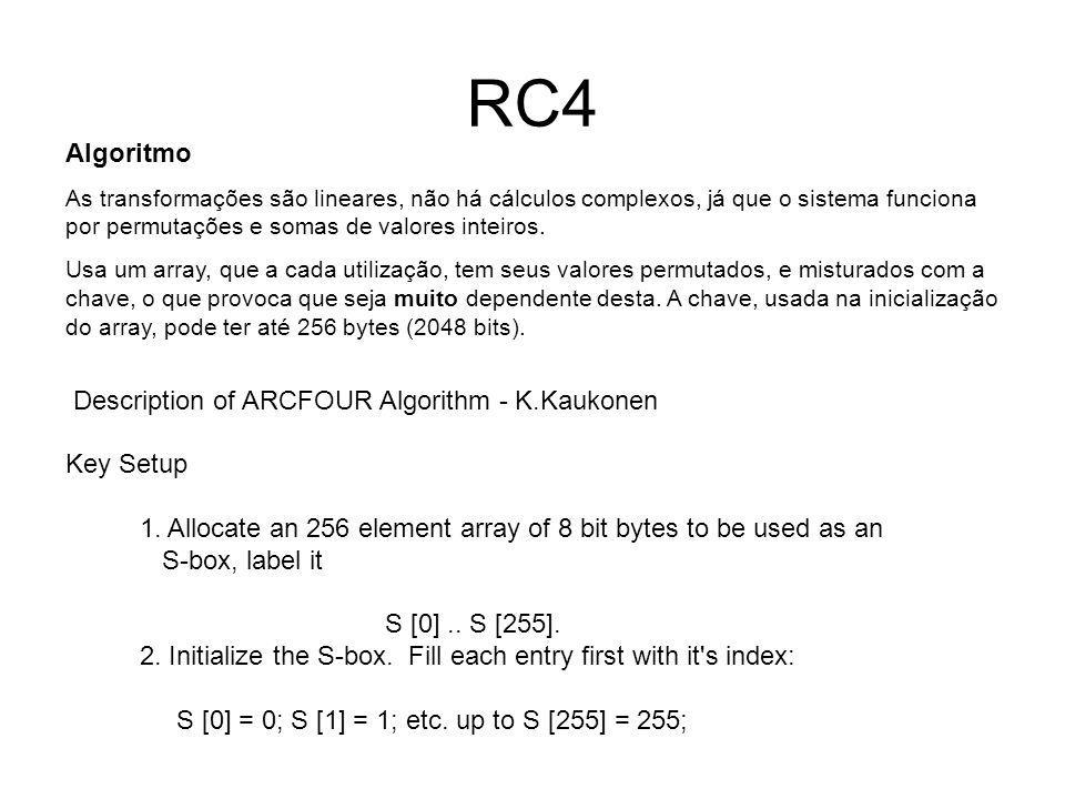 RC4 Algoritmo Description of ARCFOUR Algorithm - K.Kaukonen Key Setup