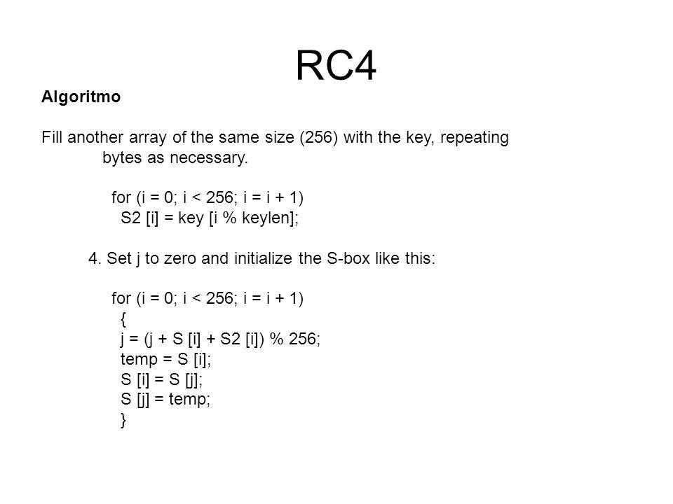 RC4 Algoritmo. Fill another array of the same size (256) with the key, repeating. bytes as necessary.