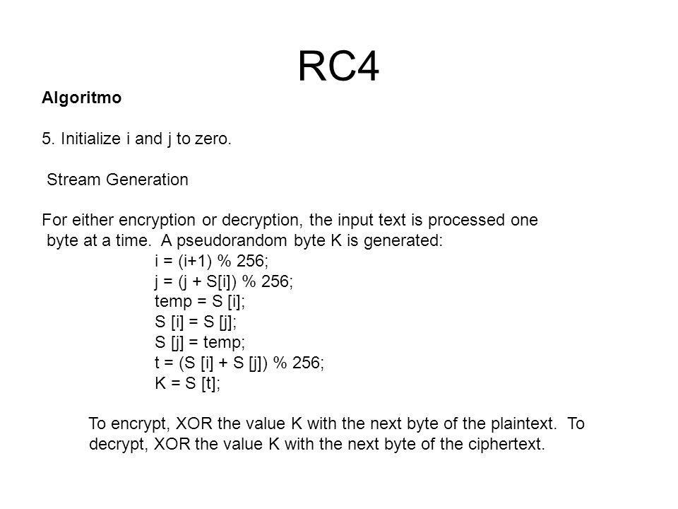 RC4 Algoritmo 5. Initialize i and j to zero. Stream Generation