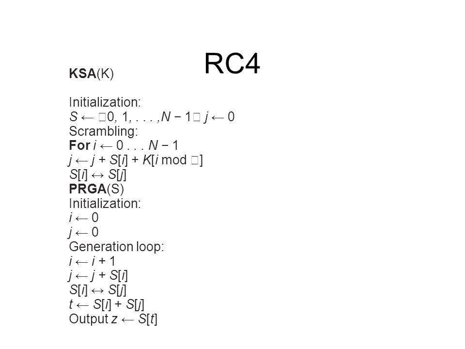 RC4 KSA(K) Initialization: S ← 0, 1, . . . ,N − 1 j ← 0 Scrambling: