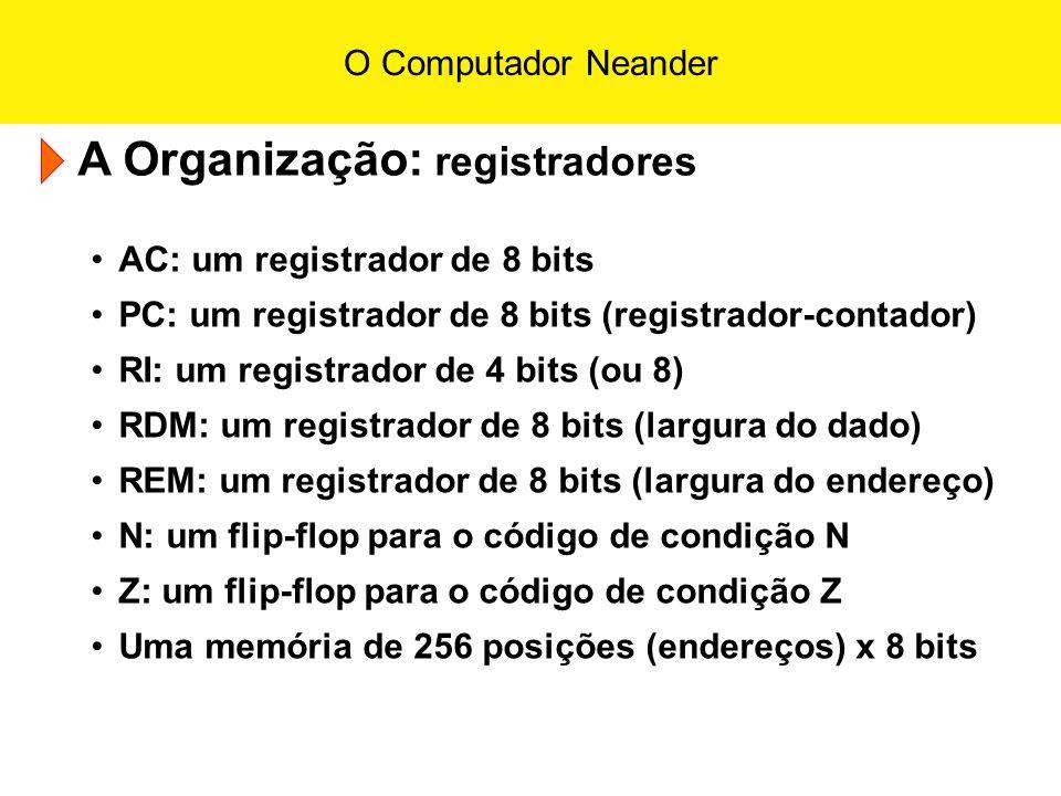 A Organização: registradores