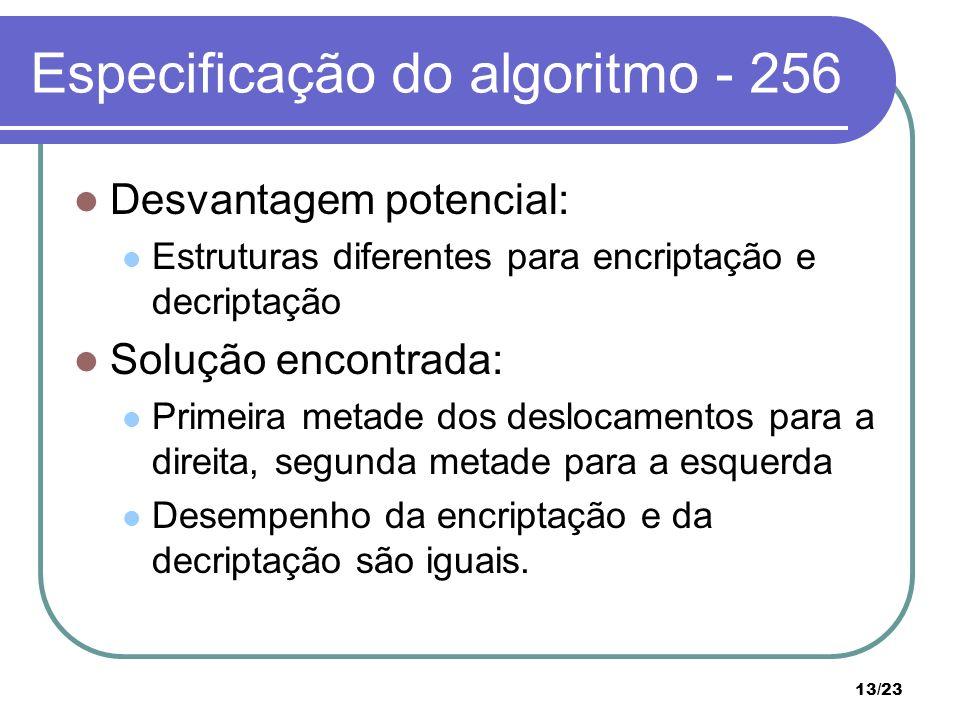 Especificação do algoritmo - 256