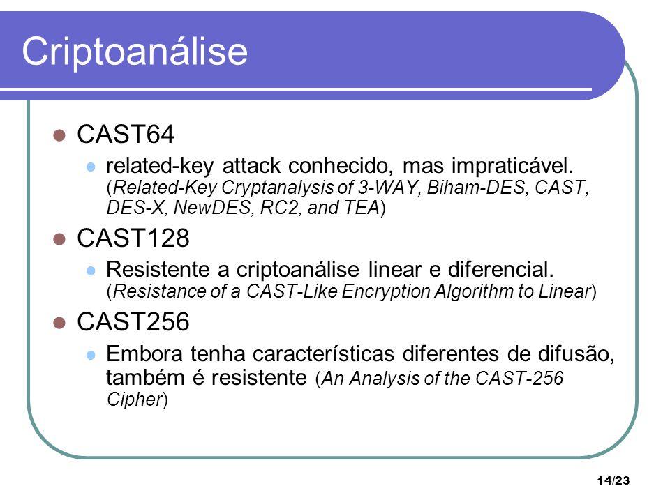 Criptoanálise CAST64 CAST128 CAST256