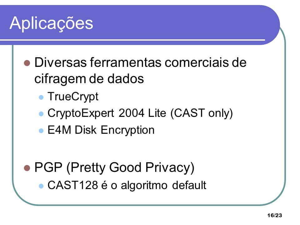 Aplicações Diversas ferramentas comerciais de cifragem de dados