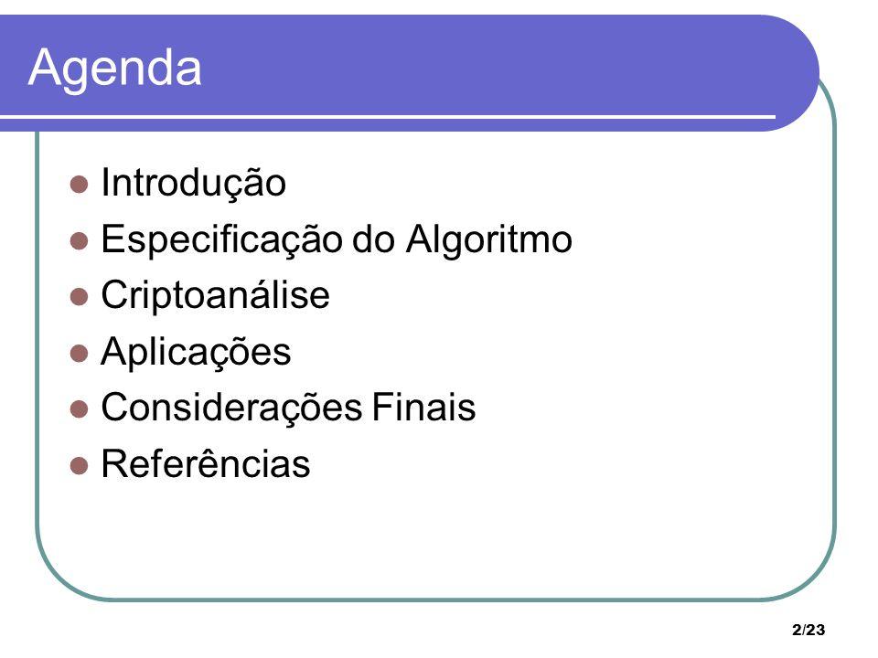 Agenda Introdução Especificação do Algoritmo Criptoanálise Aplicações
