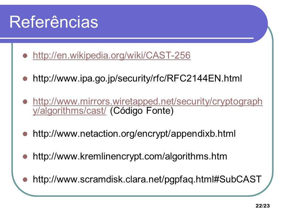 Referências http://en.wikipedia.org/wiki/CAST-256