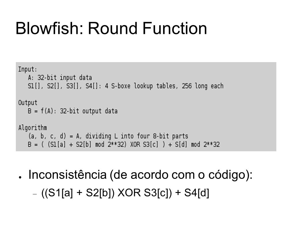 Blowfish: Round Function