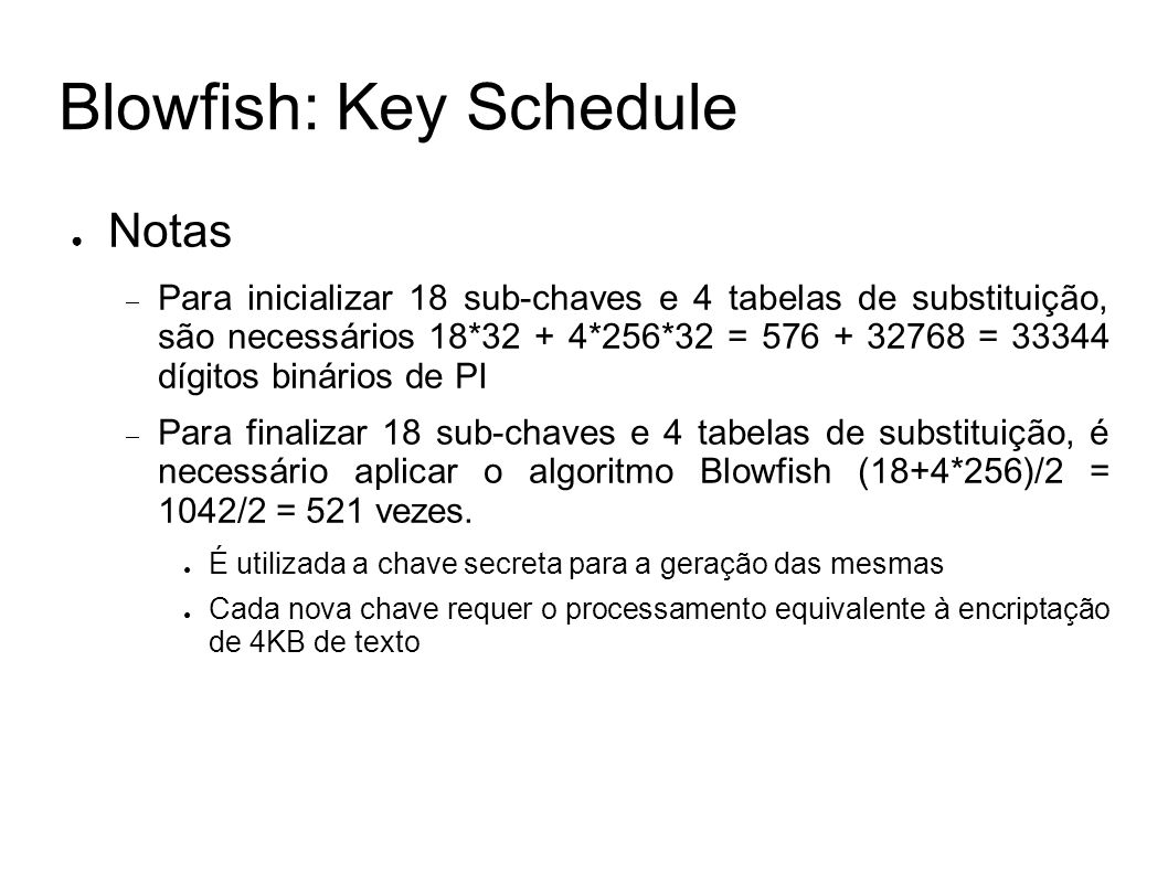 Blowfish: Key Schedule