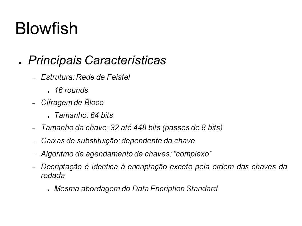 Blowfish Principais Características Estrutura: Rede de Feistel