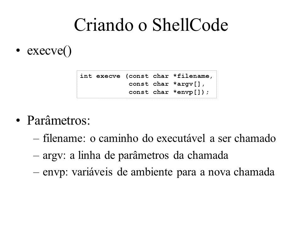 Criando o ShellCode execve() Parâmetros: