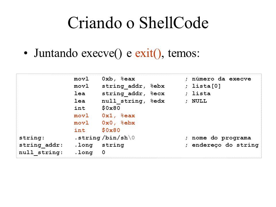 Criando o ShellCode Juntando execve() e exit(), temos:
