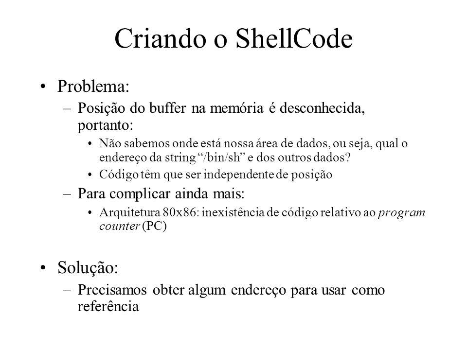 Criando o ShellCode Problema: Solução: