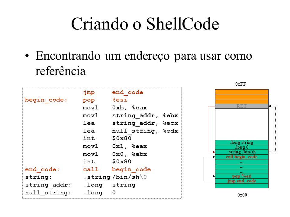 Criando o ShellCode Encontrando um endereço para usar como referência