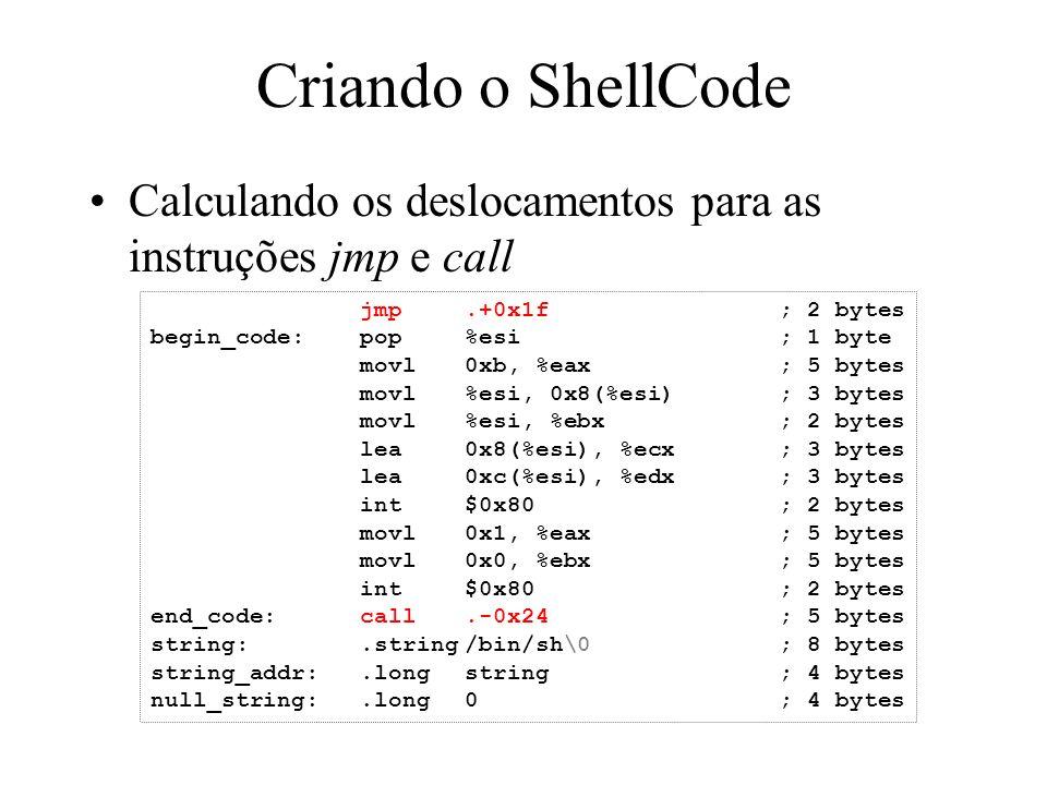 Criando o ShellCode Calculando os deslocamentos para as instruções jmp e call. jmp .+0x1f ; 2 bytes.