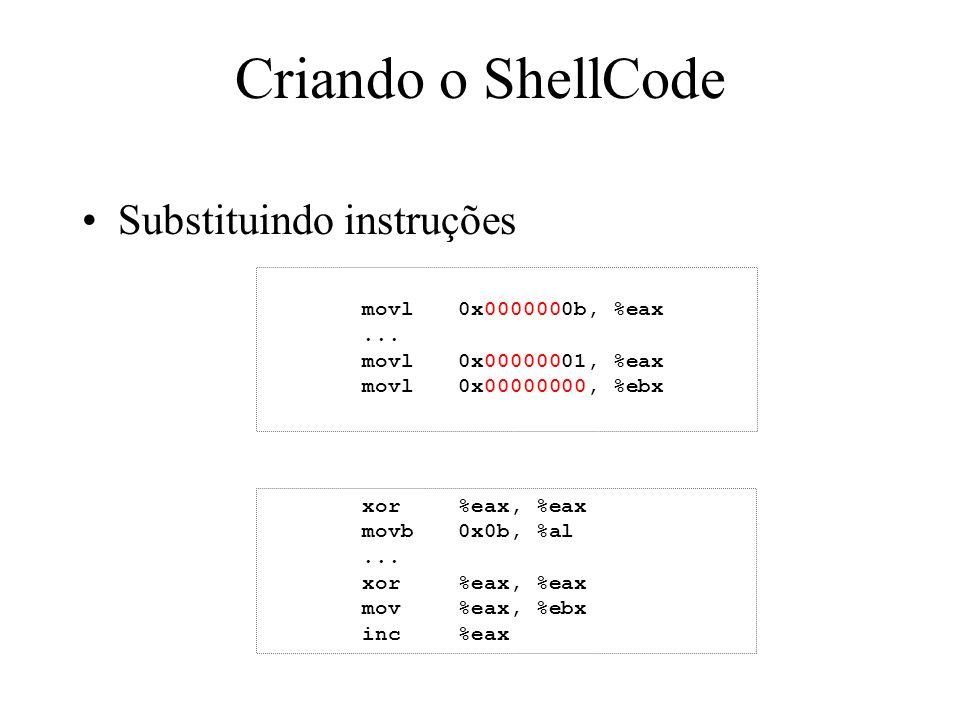 Criando o ShellCode Substituindo instruções movl 0x0000000b, %eax ...
