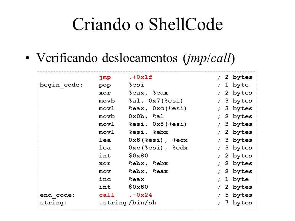 Criando o ShellCode Verificando deslocamentos (jmp/call)