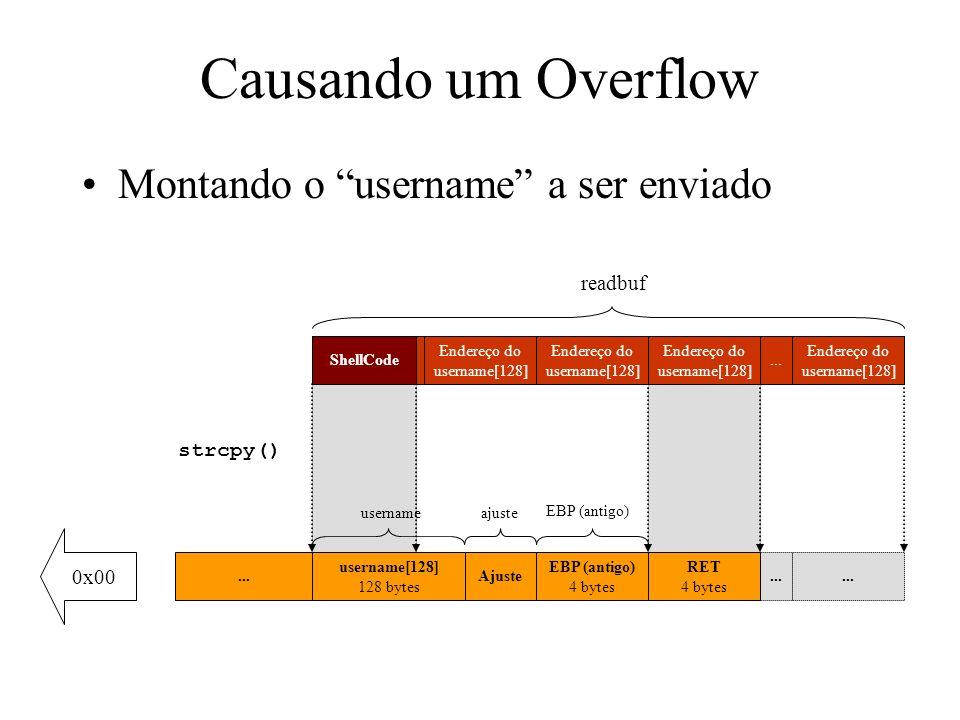 Causando um Overflow Montando o username a ser enviado readbuf
