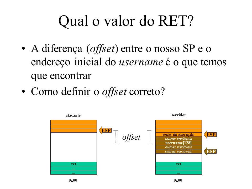 Qual o valor do RET A diferença (offset) entre o nosso SP e o endereço inicial do username é o que temos que encontrar.