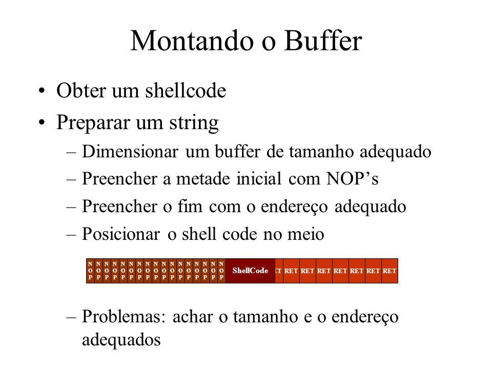 Montando o Buffer Obter um shellcode Preparar um string