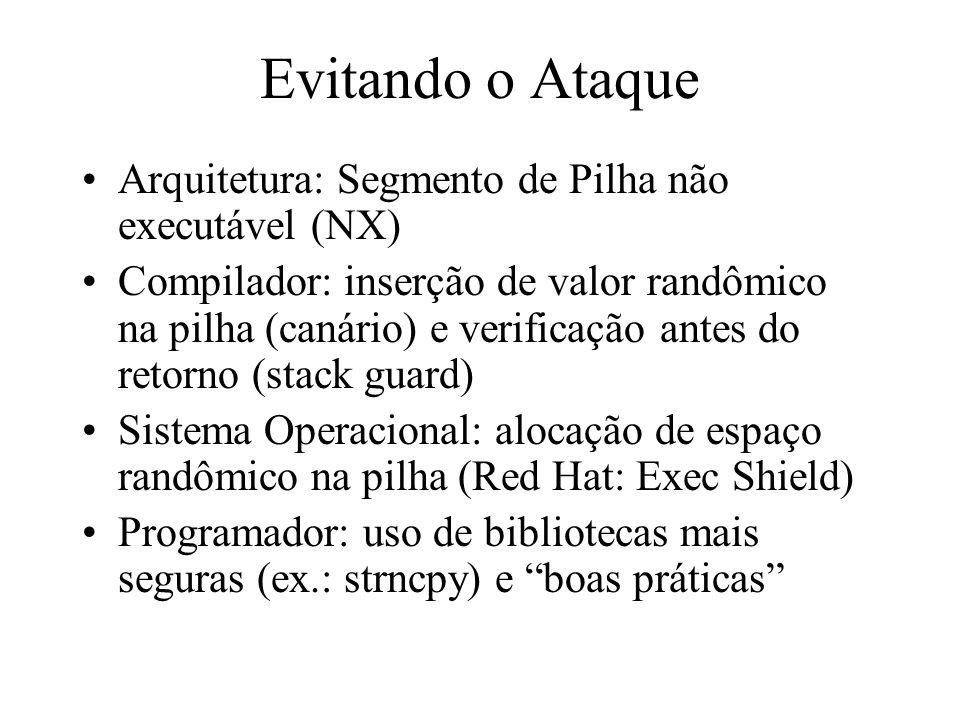 Evitando o Ataque Arquitetura: Segmento de Pilha não executável (NX)
