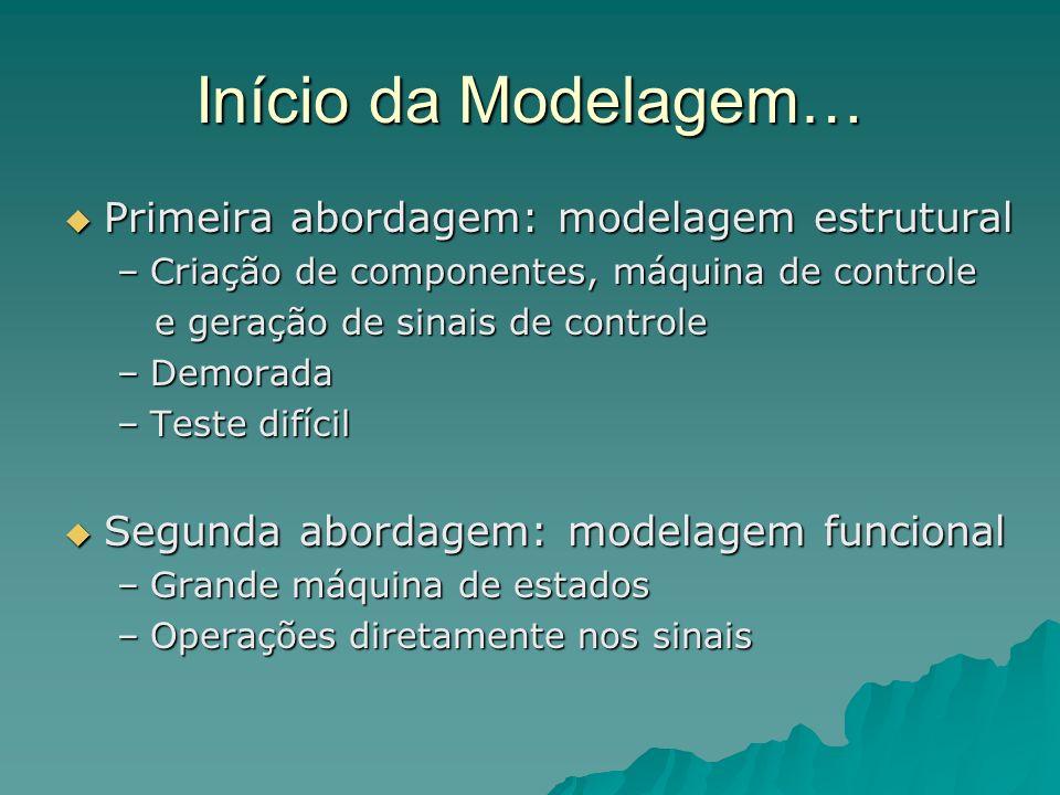 Início da Modelagem… Primeira abordagem: modelagem estrutural