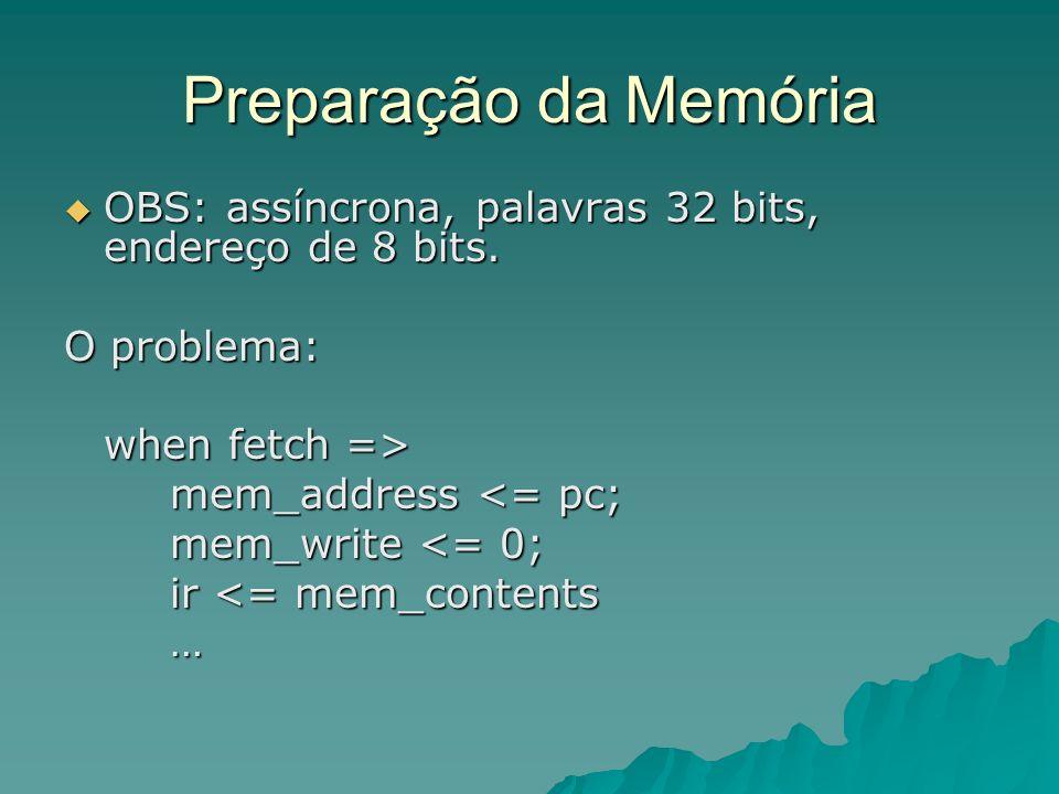 Preparação da Memória OBS: assíncrona, palavras 32 bits, endereço de 8 bits. O problema: when fetch =>