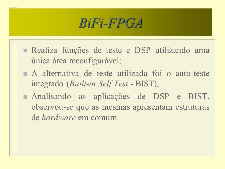 BiFi-FPGA Realiza funções de teste e DSP utilizando uma única área reconfigurável;