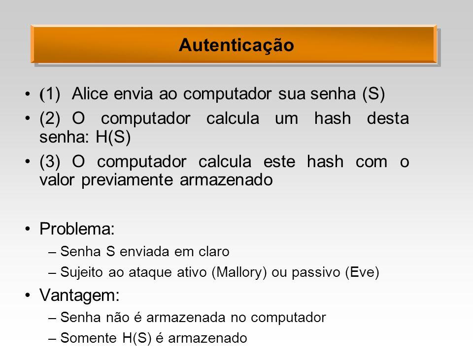Autenticação (1) Alice envia ao computador sua senha (S)
