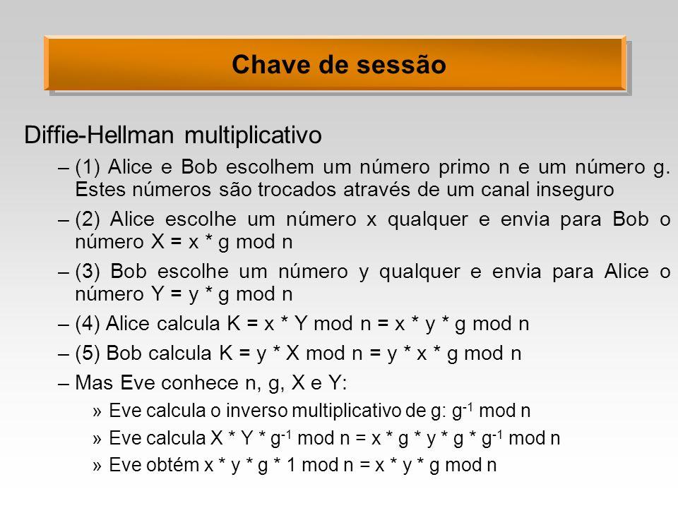 Chave de sessão Diffie-Hellman multiplicativo