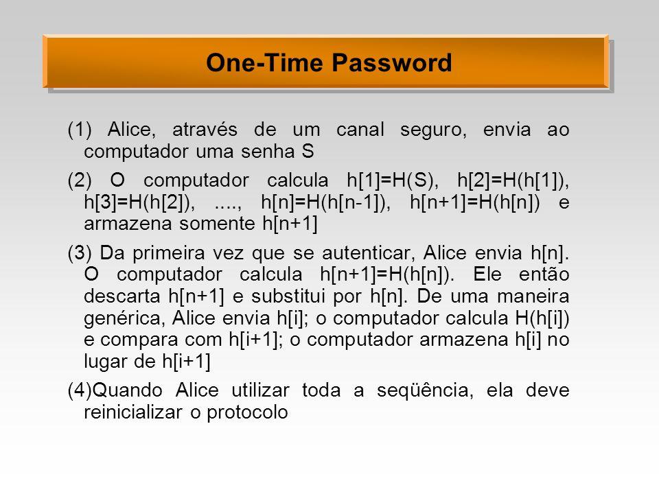 One-Time Password (1) Alice, através de um canal seguro, envia ao computador uma senha S.