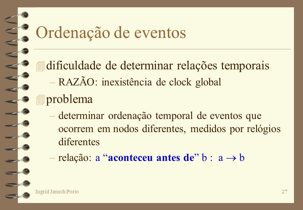Ordenação de eventos dificuldade de determinar relações temporais