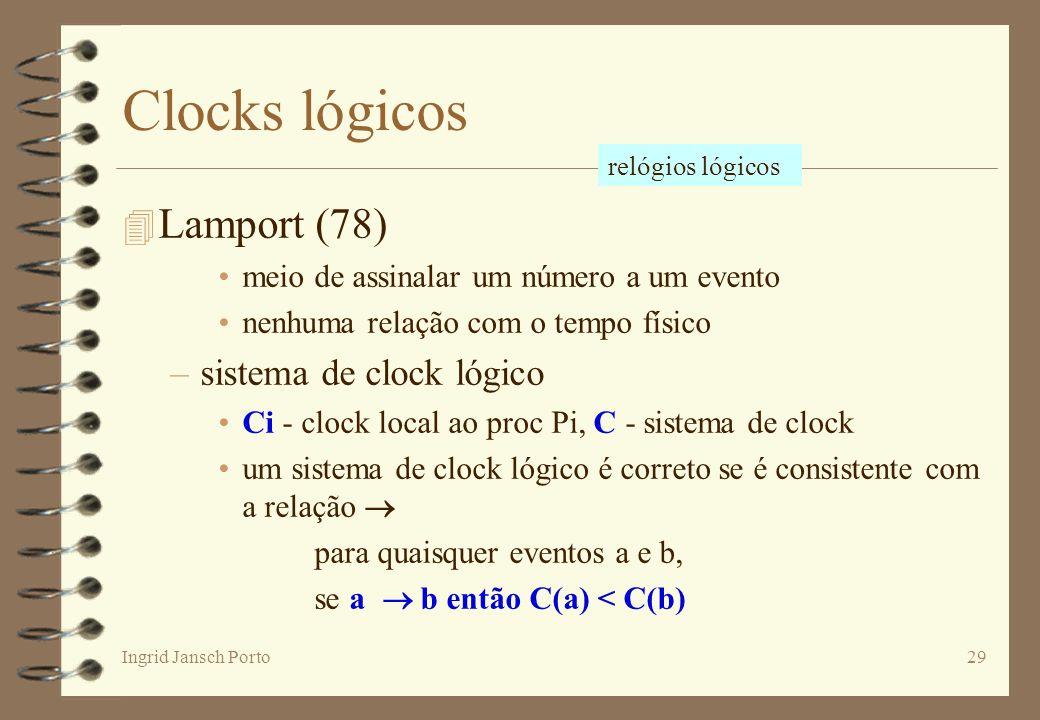 Clocks lógicos Lamport (78) sistema de clock lógico