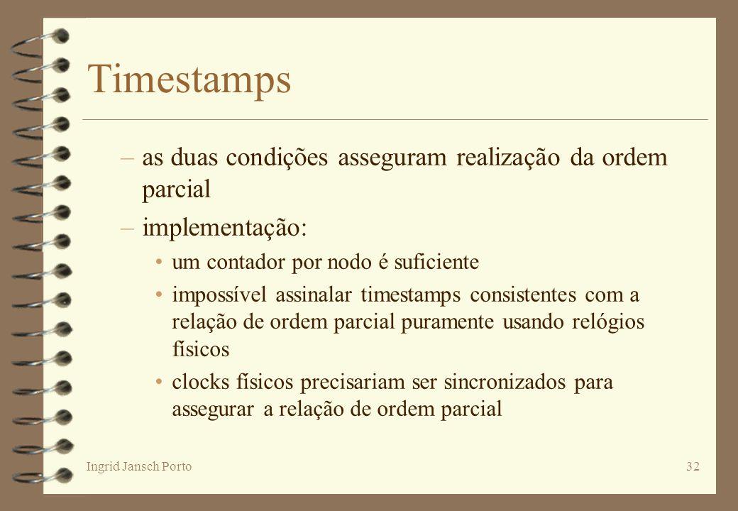 Timestamps as duas condições asseguram realização da ordem parcial