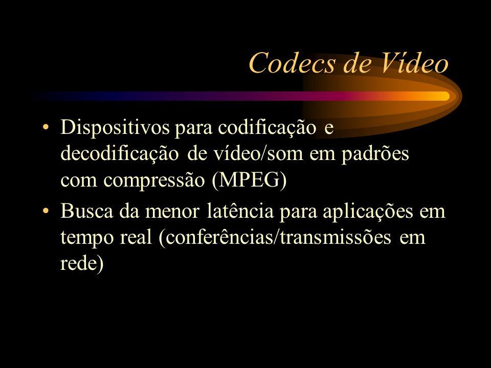 Codecs de Vídeo Dispositivos para codificação e decodificação de vídeo/som em padrões com compressão (MPEG)