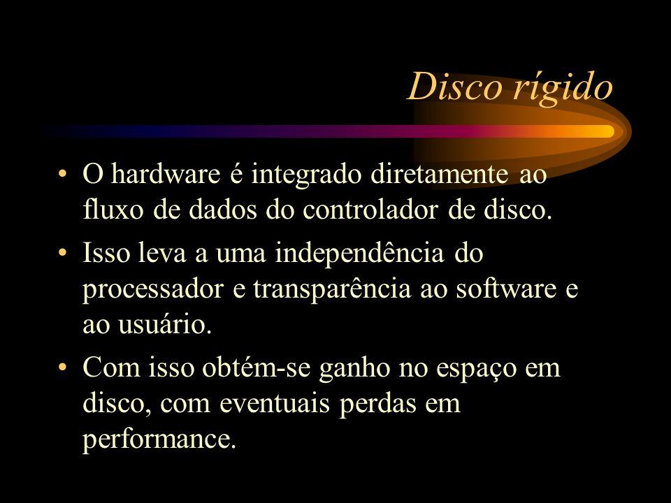 Disco rígido O hardware é integrado diretamente ao fluxo de dados do controlador de disco.