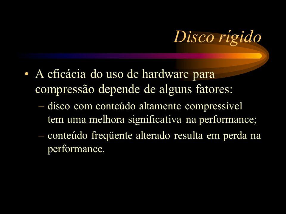 Disco rígido A eficácia do uso de hardware para compressão depende de alguns fatores: