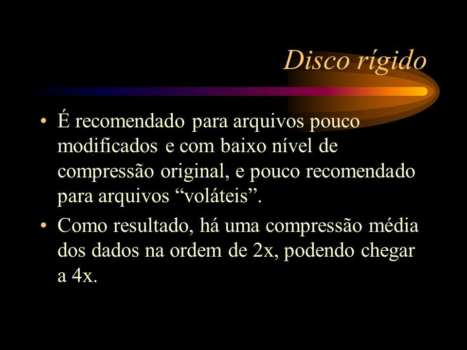 Disco rígido É recomendado para arquivos pouco modificados e com baixo nível de compressão original, e pouco recomendado para arquivos voláteis .