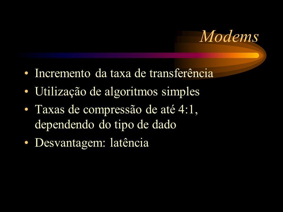 Modems Incremento da taxa de transferência
