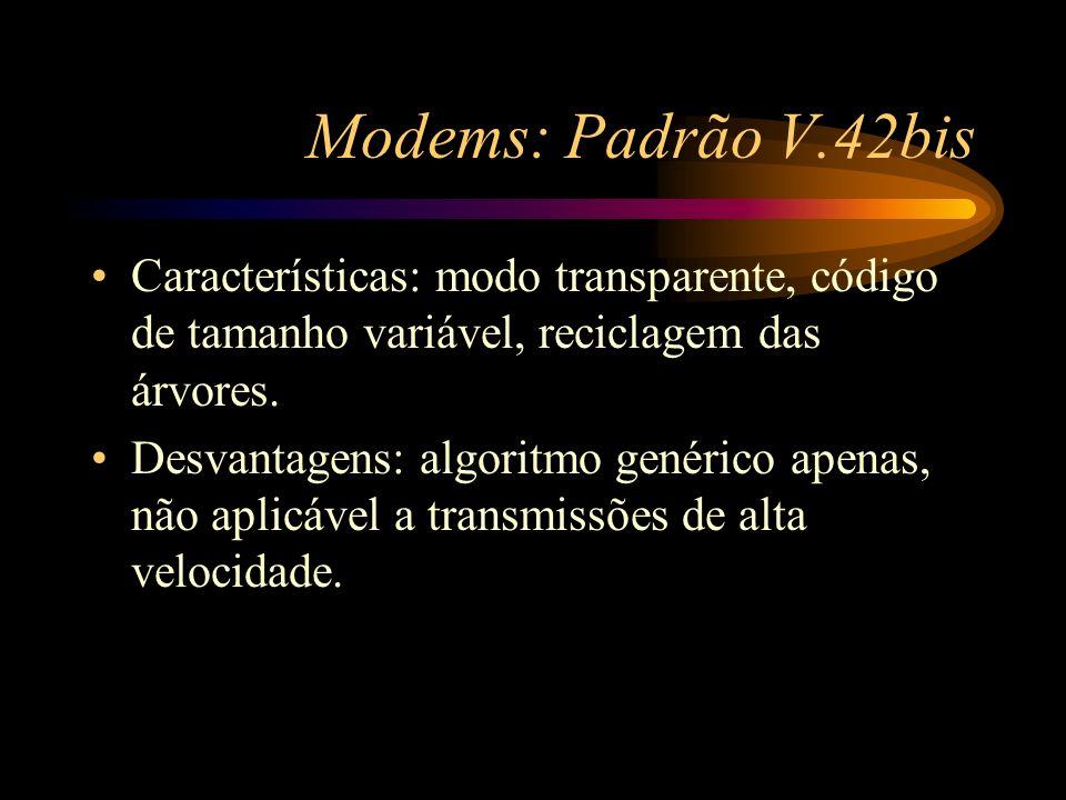 Modems: Padrão V.42bis Características: modo transparente, código de tamanho variável, reciclagem das árvores.